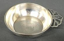 Georg Jensen sterling silver porringer with pierced tab handle. 1.5