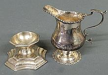 Rare French silver master salt, c.1730, with an engraved base, 2