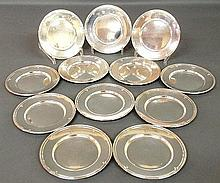 Set of twelve sterling silver bread & butter plates. 6