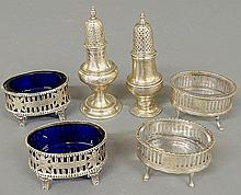 Pair of silver open salts, c.1800, with cobalt blue glass liners, a pair of clear glass examples by Jos. Anthony and a pair of salt shakers with lead-filled bases.