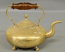 English brass teakettle, late 19th c., with an amber glass handle. 8