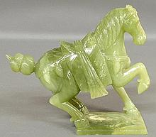 Chinese green carved hard-stone prancing horse figure. 8
