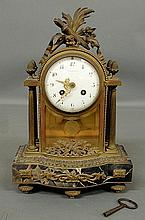 Fine French brass and marble mantel clock with ormolu mounts, the face signed