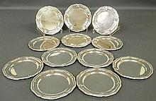 Set of twelve sterling silver Georgian style bread & butter plates. 6