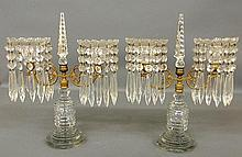 Pair of fine crystal and fire gilt girandoles, late 19th c., with drop prisms. 14.5