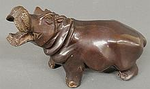 Bronze of a standing hippo with open mouth, unsigned. 5.25