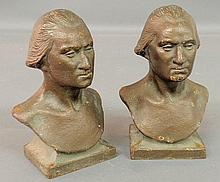 Pair of faux bronze colored cast iron bookends, c.1900, of busts of George Washington. 6
