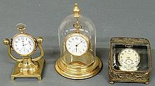 Two gold filled pocket watches with watch holders, Waltham and Elgin, and an Illinois example with raised relief fox hunting scene case 2.25