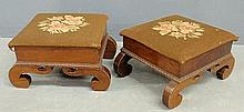 Pair of empire mahogany footstools with floral needlepoint tops. 8.5