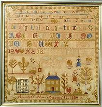 Wool on linen sampler dated 1880 with ABC's, building and figures and embroidered inscription