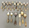 Group of coin silver TI: 6 spoons by H. Stanton, New York, 5 spoons by F.W. Pachmann, New York, NY, 9 other spoons, and a shovel by Hall & Elton.