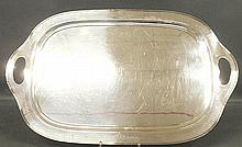 Large silverplate serving tray by Rogers with floral engraved border. 25.5