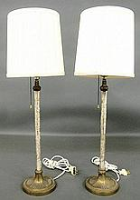 Tall pair of French style table lamps with etched crystal and bronze shafts. 9.5