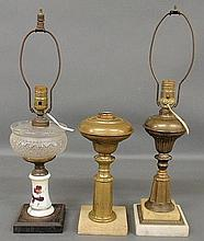 Two brass oil lamps with alabaster bases, tallest to top of socket 15