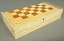 Inlaid bone and wood game board, 19th c., for backgammon and checkers, with game pieces, dice and cups, board open 1.75