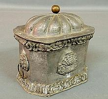 Rare lead tobacco box, c.1770, with lion mask handles. 6