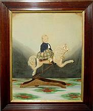 Victorian gouache painting of a child wearing a navy jacket and colorful plaid skirt, holding a riding crop and riding a rocking horse, c.1880. Site- 22.5
