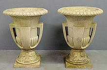 Monumental pair of Art Deco terracotta garden urns signed