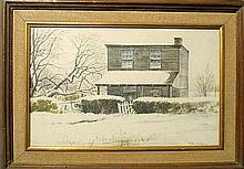 Framed watercolor landscape painting of a wooden house in winter, signed l.r.