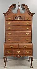 Chippendale style mahogany two-part highboy with broken arch bonnet and ball and claw feet, marked