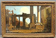 Large oil on canvas painting of classical Roman ruins, unsigned. Site- 26.5