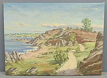 Large unframed oil on canvas landscape painting signed l.r.