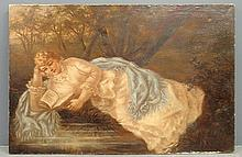 Large oil on canvas Victorian of a reclining woman reading a book, unsigned. 36