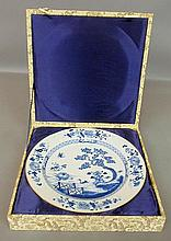 Boxed Chinese blue and white porcelain charger, probably Qianlong period, c.1735. 15