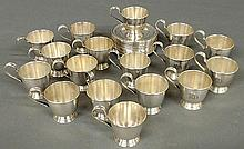 Group of seventeen sterling silver demitasse cup holders 2.125