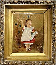 Small Victorian oil on board panting of a little girl picking grapes. Site- 9