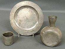 Group of early pewter TI plate with London touchmark 9.25