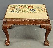 Anglo/Irish Chippendale style mahogany stool with needlepoint top. 18