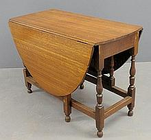 William & Mary oak gate-leg table with stretcher base. 29