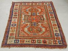 Kazak oriental center hall carpet with red field and geometric medallion. 4'4