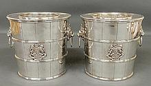 Pair of English Regency style Sheffield wine coolers, each with royal crests and lion mask handles. 8.25
