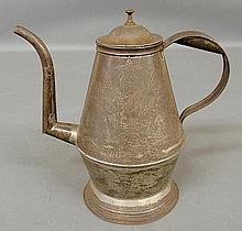 Rare punched tin coffeepot, c.1840, with brass finial and wrigglework decoration of potted tulips, the handle signed