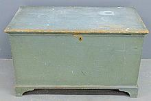 Pennsylvania poplar blanket chest, c.1820, with original robin's-egg blue paint decoration. 22