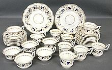 Partial English dinner service TI 14 various teacups, 19 saucers, 2 plates 9