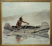 Oil on canvas painting of an American Indian in a birch bark canoe, signed l.l.