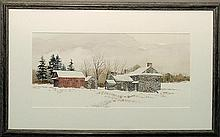Wikoff, C. Phillip [American, 20th/21st c.] framed and matted watercolor landscape painting of a stone farmhouse in winter, signed l.l.