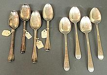 Four early 18th c. silver spoons TI- John Hague, John Millington, Andrew Worth, another spoon and four brightly polished spoons London 1792, 8.5