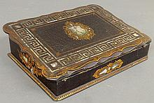 Victorian papier-mâché lap desk with mother-of-pearl inlays. 3.25