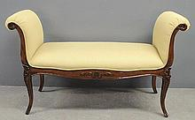 French Provincial style yellow upholstered bench. 34