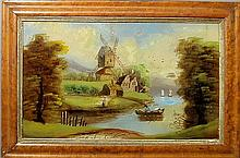 English reverse painted on glass windmill painting, late 19th c., with maple frame. Site- 13.5