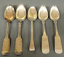 Five coin silver tablespoons- 2 by Conrad Bard, Philadelphia, PA, 9