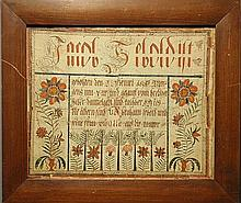 Framed fraktur dated 1805, with colorful potted flowers. 13