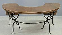 Wrought iron and oak conservatory table in the style of Samuel Yellin, with two drop leaves. 28.5