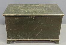 Green painted Pennsylvania pine blanket/storage chest, 19th c., with straight bracket feet. 16