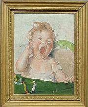 Oil on canvas painting of a crying baby, unsigned and as found. 11.375