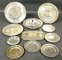 Group of sterling silver tableware TI plates, bowl and tray 9